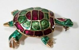 Vintage Gold Tone w/ Green & Fuchsia Enamel Turtle Brooch Pin for REPAIR - $6.49