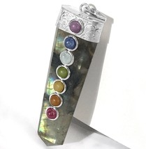 Natural Labradorite 7 Chakra Crystal Pendant Handmade Necklace CHARGED G... - $13.42