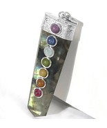 Natural Labradorite 7 Chakra Crystal Pendant Handmade Necklace CHARGED Gemstone - $13.42
