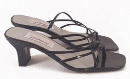 Ladies VEGAN Worthington Black Heeled Slip On Strappy Sandals Size 6.5 M - $18.46