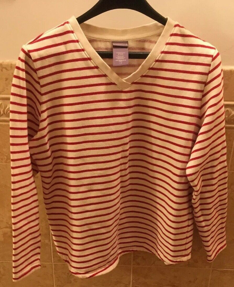 Primary image for LAURA SCOTT Red & White Striped 100% Cotton V-Neck Long Sleeve Sweater Size L
