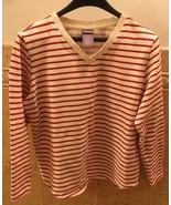 LAURA SCOTT Red & White Striped 100% Cotton V-Neck Long Sleeve Sweater S... - $8.91