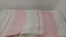 Aden & Anais Baby Blanket Cotton Muslin pink gray white wide stripes - $19.80