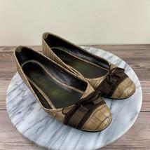 Escada Brown Leather Snakeskin Ribbon Bow Toe Flats Womens Size 39.5/9 - $39.95