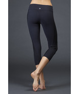 Womens New Zobha Yoga Capri Pants Ribbed Inserts Black Run Pilates Barre... - $31.60