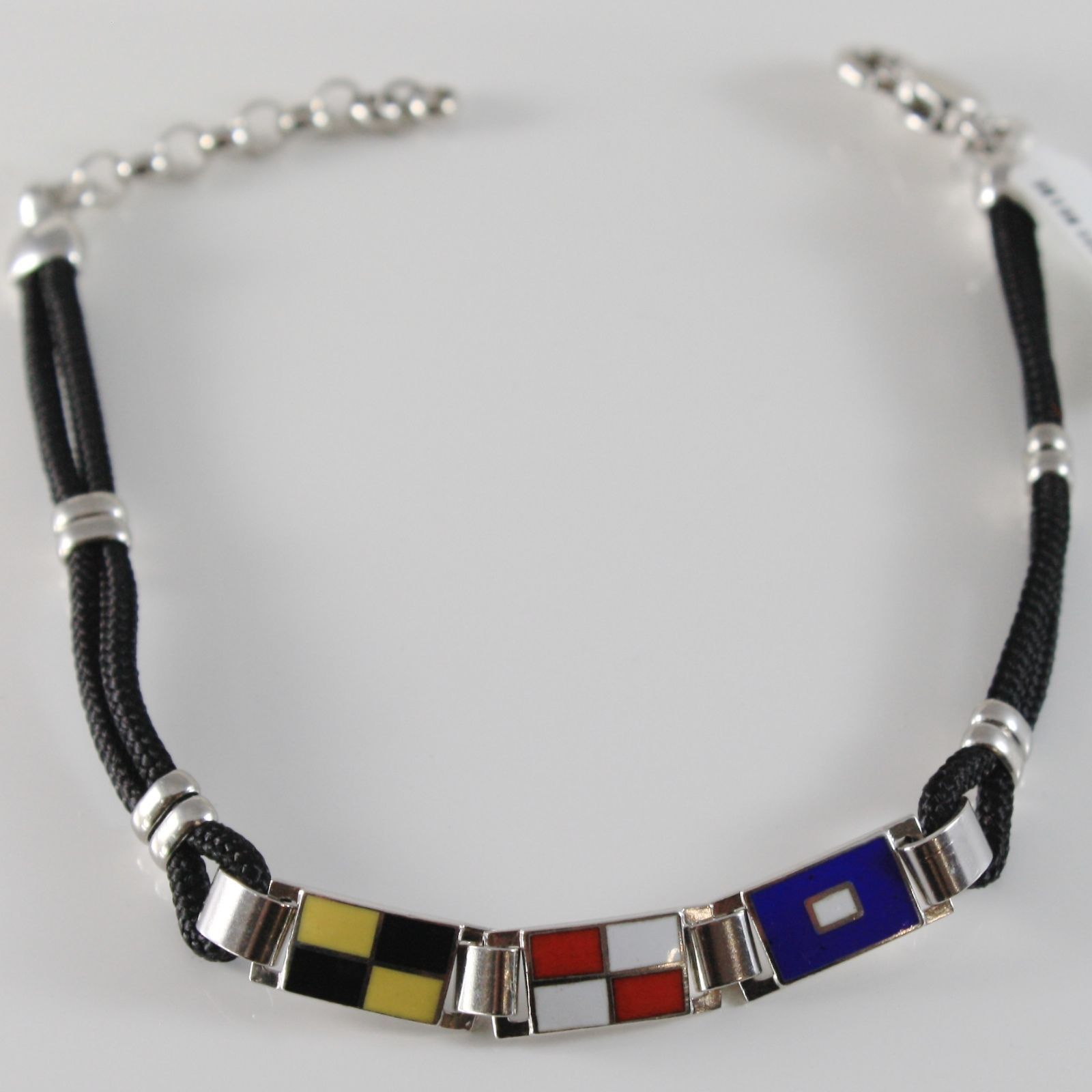 SOLID 925 SILVER WHITE BRACELET WITH GLAZED NAUTICAL FLAGS & CORD MADE IN ITALY