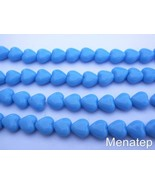 50 6x6mm Czech Glass Heart Beads: Opaque Turquoise Blue - $3.49
