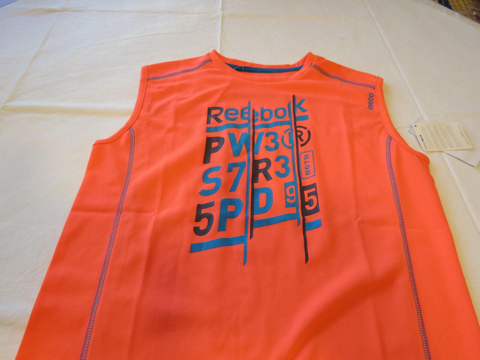 Boys youth Reebok surf skate L muscle tank top shirt 820 neon orange vqxm61538 image 2