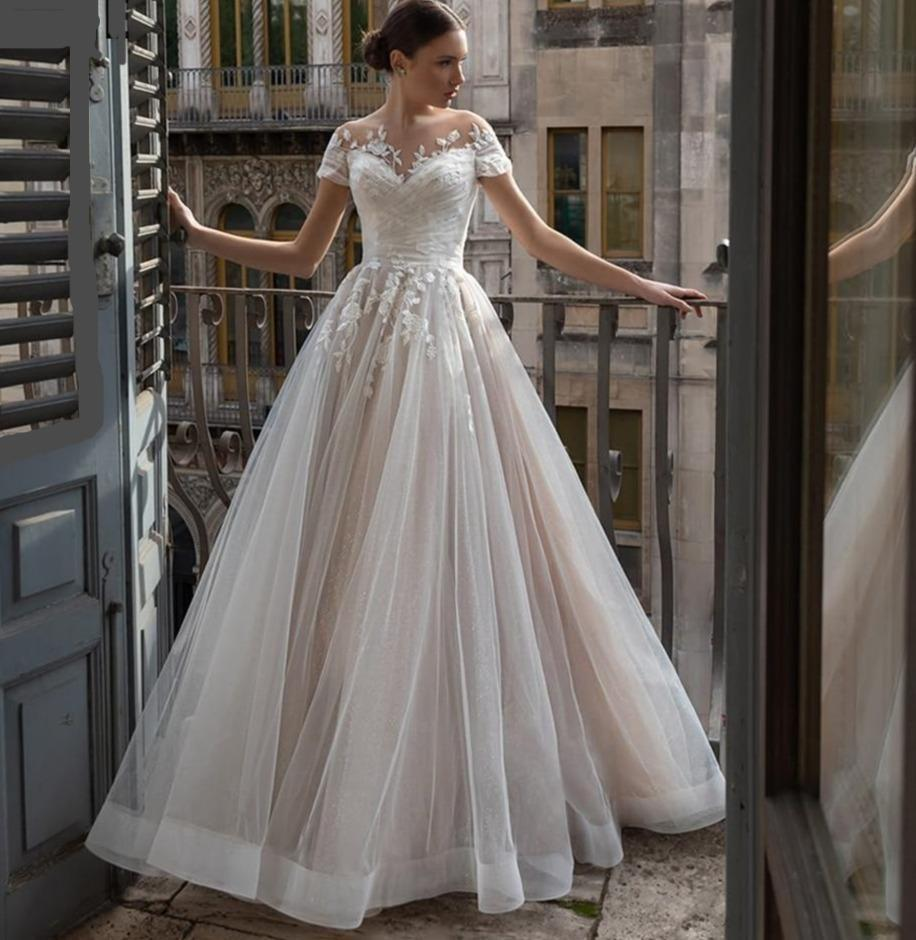 R tulle wedding dresses elegant lace appliques beach bridal gown with lacing sheer illuison neck