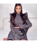 High Street Autumn Style Sexy Turtleneck Full Sleeves Black Leopard Two ... - $126.59+