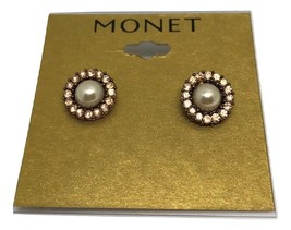 """Monet Pierced Champagne Faceted Crystal Earrings 1/2"""" New  - $9.99"""