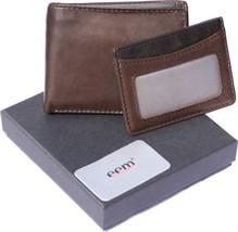 elegant leather wallet with integrated card holder, billfold wallet brown - $14.61