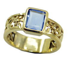 good Blue shappire CZ Gold Plated Blue Ring suppiler US 6,7,8,9 - $9.99