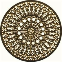 Copper Colored Notre Dame Cathedral Rose Window Ornament Decoration - $9.89
