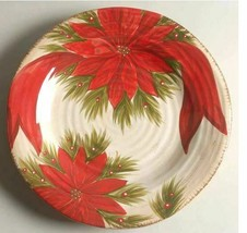 Tabletops Unlimited Christmas Carol Width 11 1/2 in Dinner Plate Red Poi... - $21.23