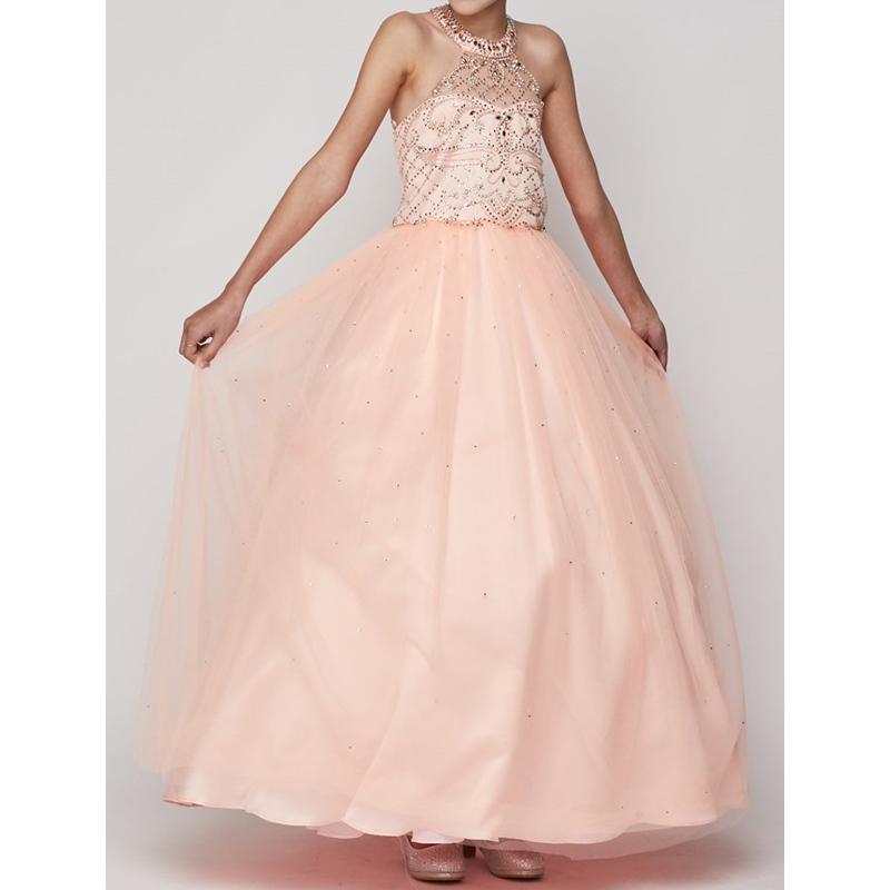 Halter Neck Rhinestones Bodice Long Length Tulle Skirt Corset Style on The Back