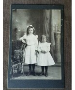 Cabinet Card late 1800s 2 young girls sisters dresses J.W. Goetz West Be... - $19.34