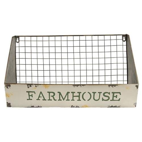 "Galvanized Metal Wire Wall Shelf Basket, ""Farmhouse"" Kitchen wall decor"