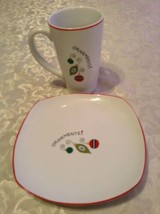 Gourmet Fitz and Floyd plate mug set porcelain Lot of 2 white red Holiday - $13.99