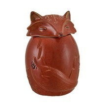 Beautiful Cute Ceramic  ANIMAL COOKIE JAR a fox Round Sculpture - $63.23
