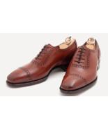 Customized Men Peach Cap Toe Plain Tip Lace up Oxford Pure Genuine Leath... - $149.99+