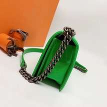 SALE*** Authentic Chanel Boy Medium Patent Green Flap Bag with RECEIPT  image 4