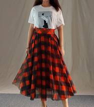 Fall Red Plaid Skirt Outfit Red Plaid Long Tulle Skirt High Waisted Plaid Skirt  image 12