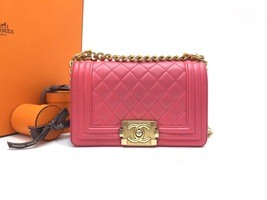 AUTHENTIC CHANEL PINK QUILTED LAMBSKIN SMALL BOY FLAP BAG GHW WITH RECEIPT