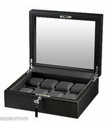 Volta 8 Watch Box with See Through Glass Top Carbon Fiber Black 31-560920 - $168.29