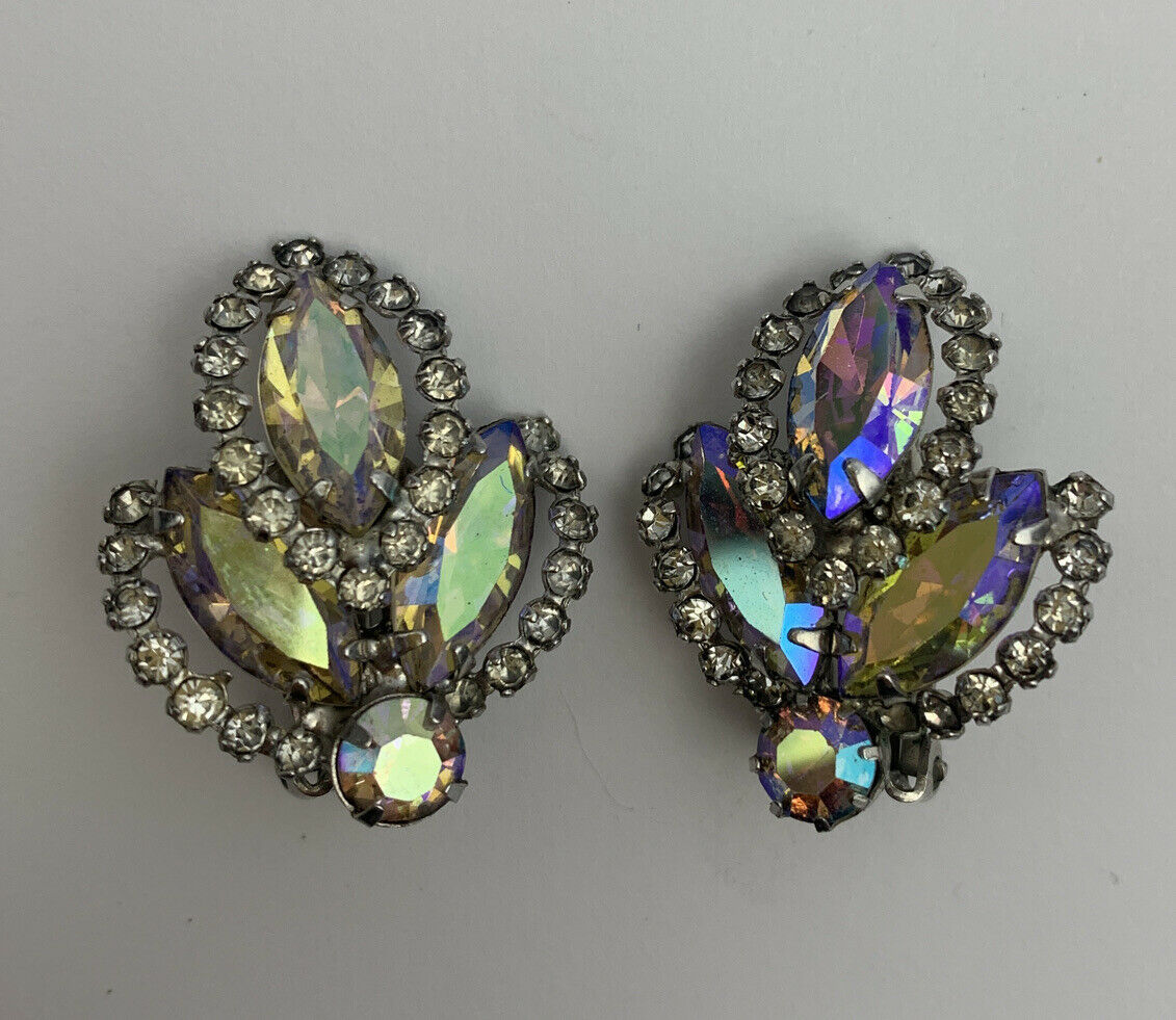 Primary image for Weiss Aurora Borealis Clip On Earrings Vintage Designer Signed AB Glass Navette