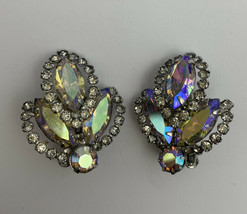Weiss Aurora Borealis Clip On Earrings Vintage Designer Signed AB Glass Navette - $27.68