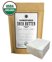 Raw Shea Butter for Face, Hair and Dry Skin 1 LB by Kate Blanc. USDA Certified O
