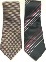 Lot of 2 Dockers Ties 100% Silk Neck Tie Necktie Black Stripe Red Brown ... - $8.90