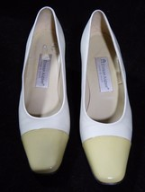 "Womens ETIENNE AIGNER White Cream Leather Pumps 2 1/2"" Heels Shoes 8 1/2 N - $11.10"