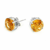 0.50 CARAT 4mm 14K SOLID WHITE GOLD CITRINE ROUND SHAPE STUD EARRINGS  - $34.63