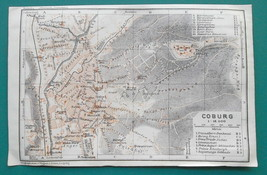 "1925 BAEDEKER MAP - COBURG & Eisenach Town Plans Germany  4"" x 6""  - $8.55"