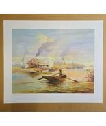 VTG Print Robert M. Rucker Boat Pearl River Signed & Numbered 435/1000 U... - $103.35