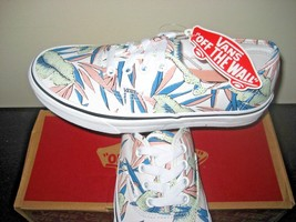 Vans Authentic Womens Tropical Leaves True White Canvas shoes Size 7 NWT - $46.51