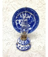 Vintage, Rare,  Beautiful 4-pc Blue Willow Oil Lamp with Reflector 9.5in... - $94.95