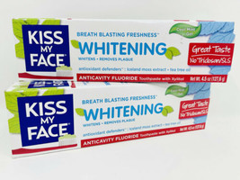 Kiss My Face Whitening 2x Toothpaste Cool Mint Gel 4.5 Oz Each Exp 7/21 New - $12.27