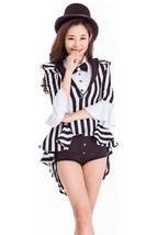 Woman Performance Stage Costume Black and White Stripe Tuxedo  Dress - $45.99