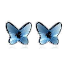 Butterfly Stud Earrings Made with Crystals For Kids Teens Love Gift - $44.05