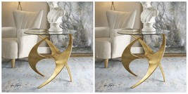 "TWO MODERN 28"" ANTIQUE GOLD METAL ROUND ACCENT SIDE END TABLE SCULPTED A... - $875.60"