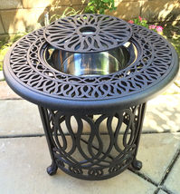 Patio end table cast aluminum Ice bucket insert round Elisabeth side furniture image 3