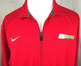 Nike Dri Fit Full Zip Lite Jacket Size XL Red Unlined Screened Chargers ... - $14.80