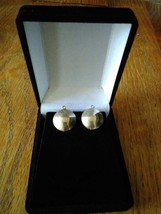 Vintage Gold Tone Flat Disc Button Stud Brutalist Clip-on Earrings - $14.99