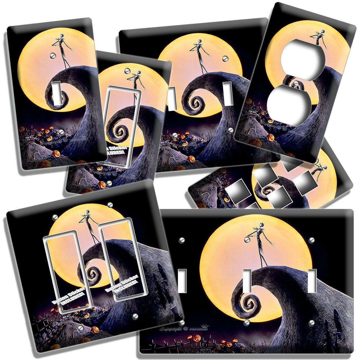 NIGHTMARE BEFORE CHRISTMAS JACK SKELLINGTON LIGHT SWITCH OUTLET PLATE ROOM DECOR
