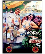 7895.Bacardi.cerveza hatuey.man and woman drink poolside.POSTER.art wall... - $10.89+