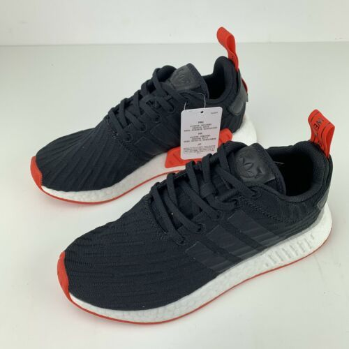 ea634dd4137d4 Adidas NMD R2 Primeknit Shoes Womens Size 6.5 Red Black White Boost Mens  5.5 New