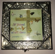Christian Religious A Friend Loves At All Times Proverbs 17:17 Glass Tri... - $9.99